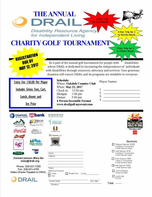 DRAIL 2017 Annual Charity Golf Tournament will be held at Oakdale Golf and Country Club May 22, 2017 12:00 pm